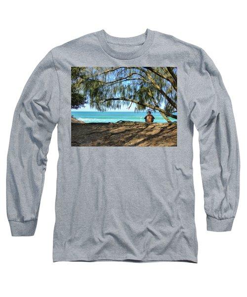 Man Relaxing At The Beach Long Sleeve T-Shirt