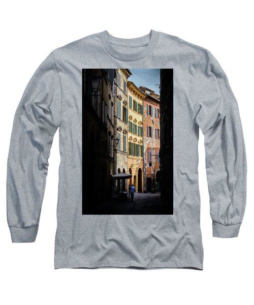 Man Walking Alone In Small Street In Siena, Tuscany, Italy Long Sleeve T-Shirt