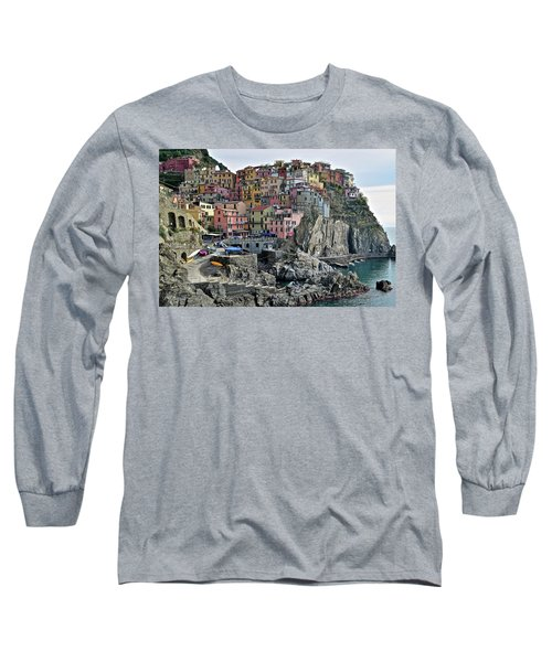 Long Sleeve T-Shirt featuring the photograph Manarola Version Two by Frozen in Time Fine Art Photography