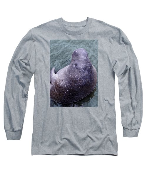 Manatee Seen From Dock- Up Close And Personal Long Sleeve T-Shirt by Penny Lisowski