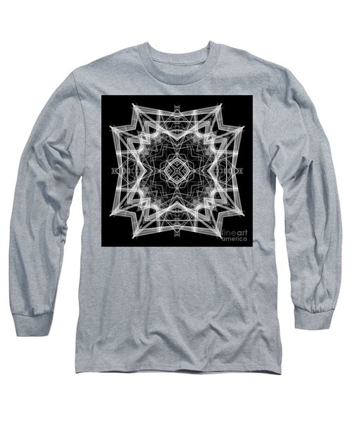 Long Sleeve T-Shirt featuring the digital art Mandala 3354b In Black And White by Rafael Salazar