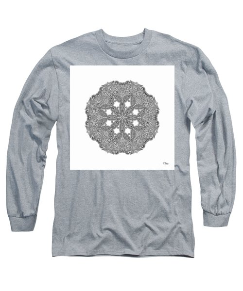Long Sleeve T-Shirt featuring the digital art Mandala To Color by Mo T