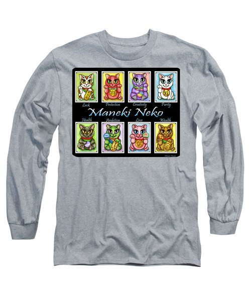 Long Sleeve T-Shirt featuring the painting Maneki Neko Luck Cats by Carrie Hawks