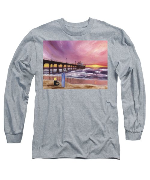 Manhattan Beach Pier Long Sleeve T-Shirt by Jamie Frier