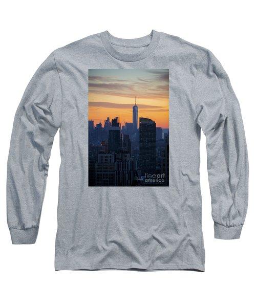 Manhattan Skyline At Dusk Long Sleeve T-Shirt by Diane Diederich