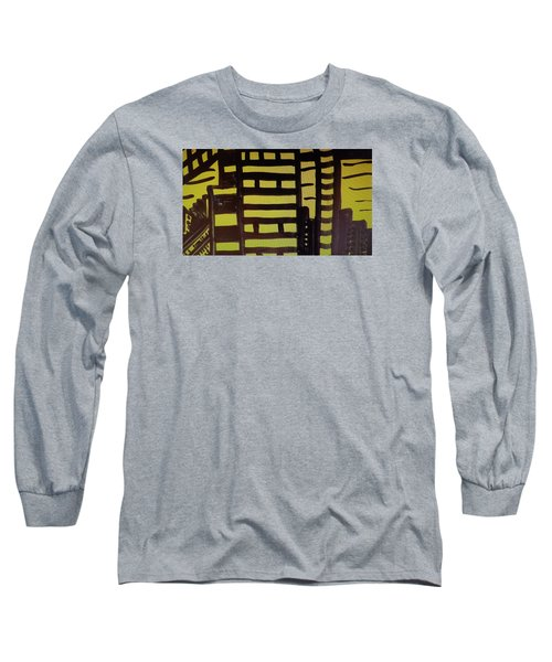 Long Sleeve T-Shirt featuring the painting Manhattan Sunrise 2 by Don Koester