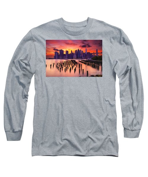 Long Sleeve T-Shirt featuring the photograph Manhattan Sunset by Rima Biswas
