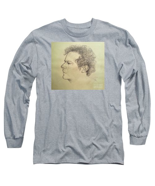 Long Sleeve T-Shirt featuring the drawing Man's Head Classic Study by Maja Sokolowska