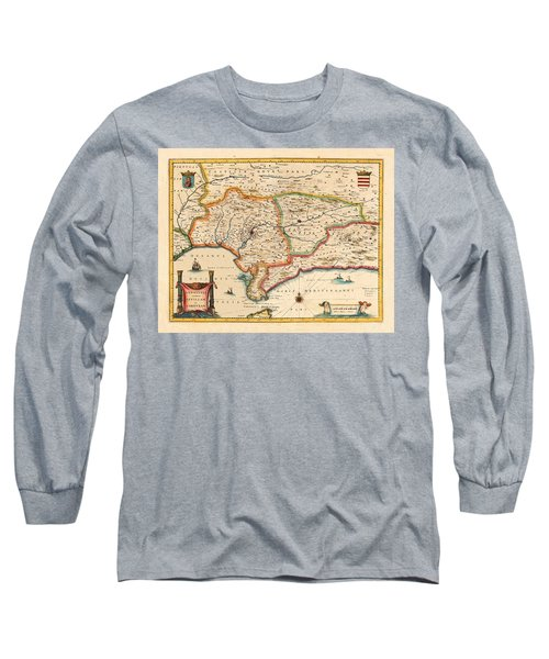 Map Of Andalusia 1650 Long Sleeve T-Shirt by Andrew Fare