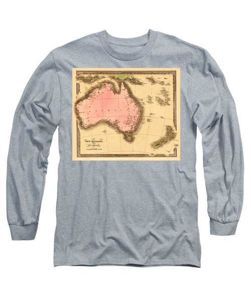 Map Of Australia 1840 Long Sleeve T-Shirt by Andrew Fare