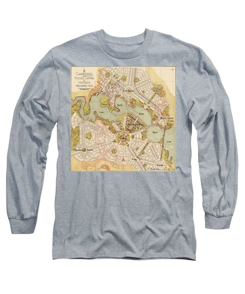 Map Of Canberra 1913 Long Sleeve T-Shirt by Andrew Fare