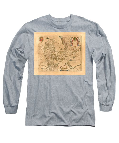 Map Of Denmark 1645 Long Sleeve T-Shirt by Andrew Fare