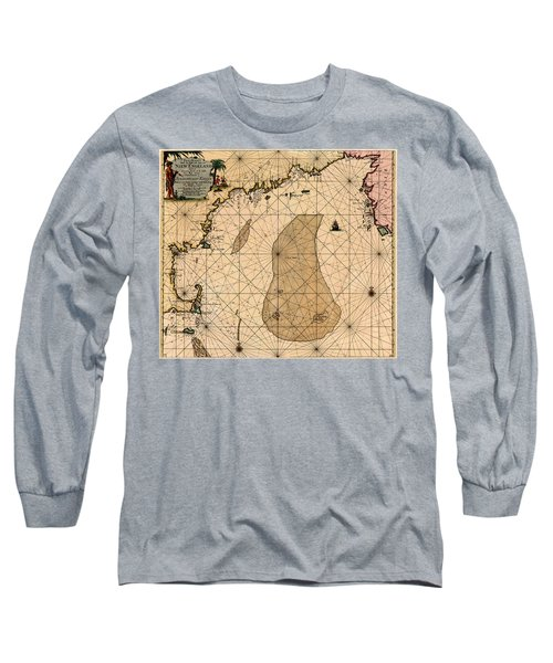 Map Of New England 1700 Long Sleeve T-Shirt by Andrew Fare
