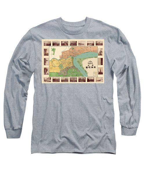 Map Of Shanghai 1908 Long Sleeve T-Shirt by Andrew Fare