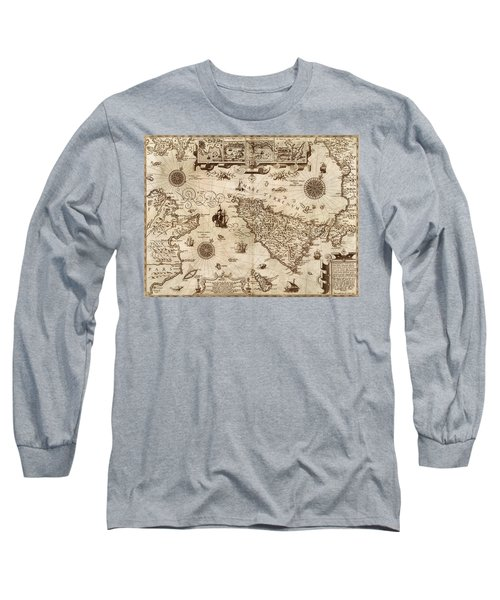 Map Of Sicily 1594 Long Sleeve T-Shirt by Andrew Fare