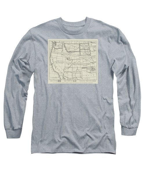 Map Of The Western States Of America Long Sleeve T-Shirt