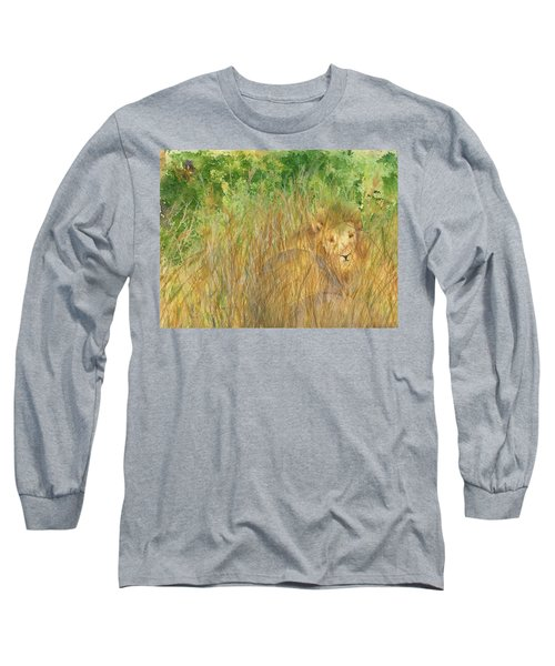 Long Sleeve T-Shirt featuring the painting Mara The Lioness by Vicki  Housel