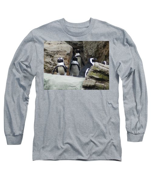 Long Sleeve T-Shirt featuring the photograph March Of The Penguins by B Wayne Mullins