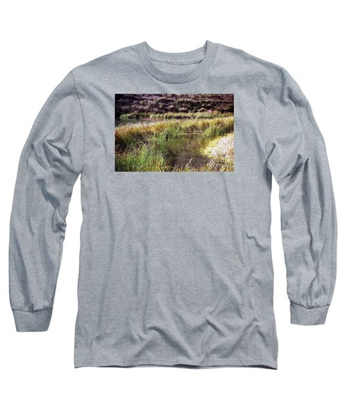 Marine Headlands Pond And Flowers Long Sleeve T-Shirt by Ted Pollard