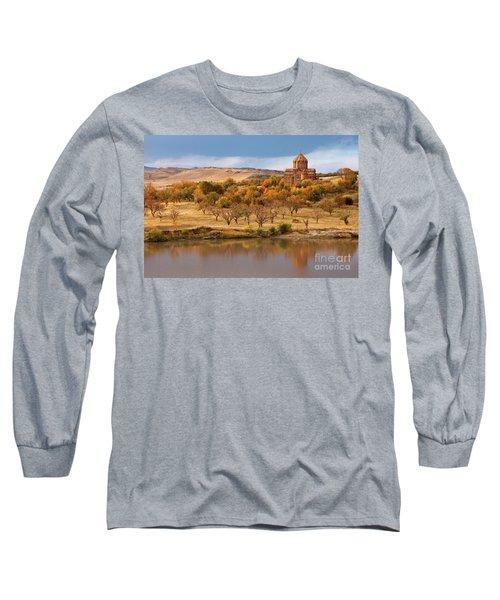 Marmashen Monastery Reflected On Lake At Autumn, Armenia Long Sleeve T-Shirt by Gurgen Bakhshetsyan