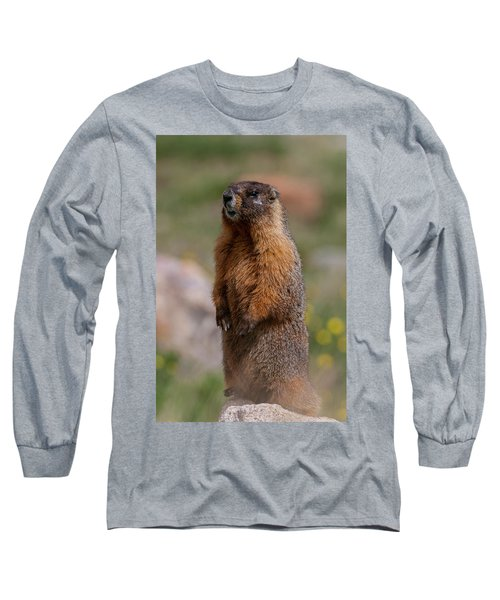 Long Sleeve T-Shirt featuring the photograph Marmot by Gary Lengyel