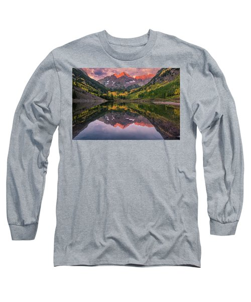 Maroon Bells At Sunrise Long Sleeve T-Shirt