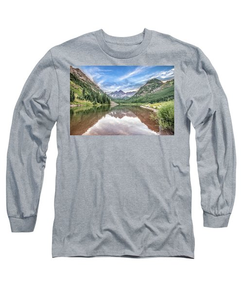 Maroon Bells Near Aspen, Colorado Long Sleeve T-Shirt by Peter Ciro