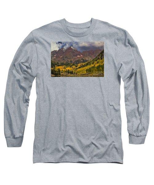 Maroon Bells Long Sleeve T-Shirt by Steven Parker