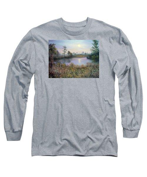 Marsh Wetland Moon Landscape Painting Long Sleeve T-Shirt