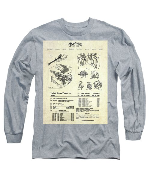 Martin Guitar Patent Art Long Sleeve T-Shirt by Gary Bodnar