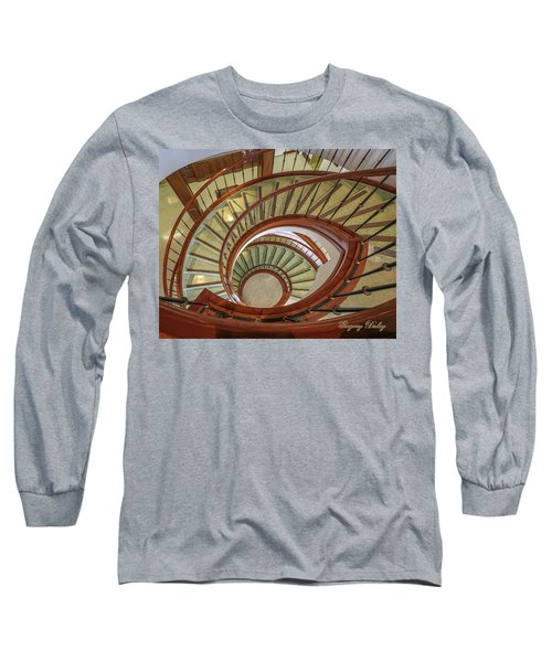 Long Sleeve T-Shirt featuring the photograph Marttin Hall Spiral Stairway by Gregory Daley  PPSA