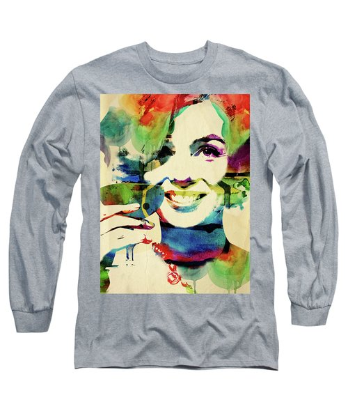 Marilyn And Her Drink Long Sleeve T-Shirt by Mihaela Pater