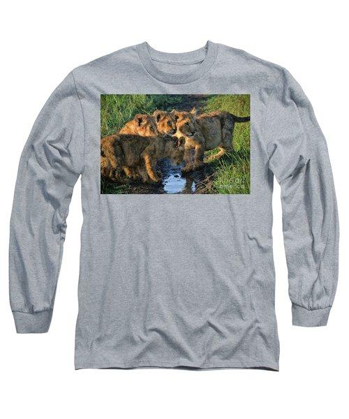 Masai Mara Lion Cubs Long Sleeve T-Shirt by Karen Lewis