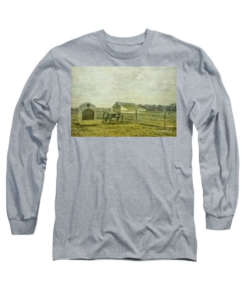 Long Sleeve T-Shirt featuring the digital art Mcpherson Barn And Cannon Gettysburg  by Randy Steele
