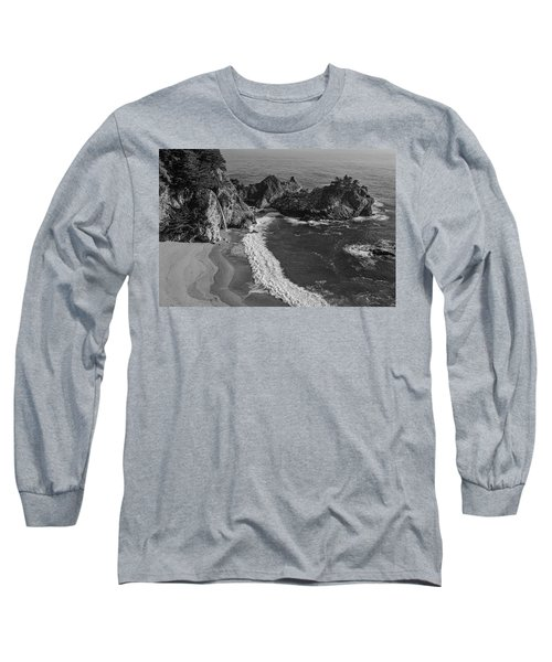 Mcway Cove Waterfall Black And White Long Sleeve T-Shirt