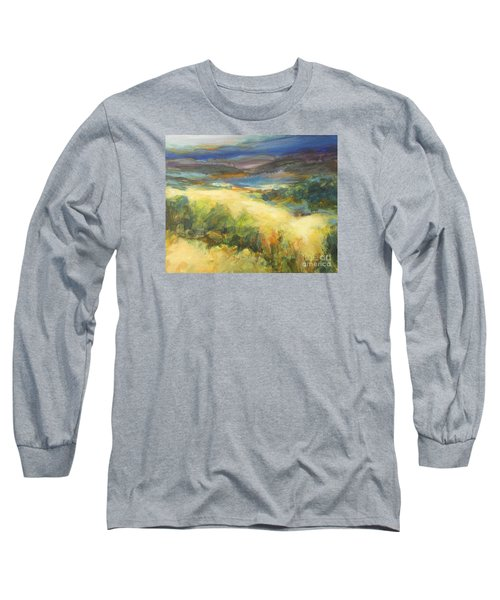 Meadowlands Of Gold Long Sleeve T-Shirt by Glory Wood