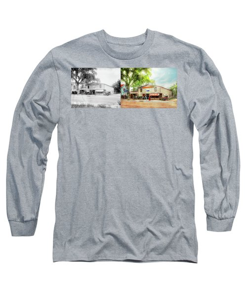 Long Sleeve T-Shirt featuring the photograph Mechanic - All Cars Finely Tuned 1920 - Side By Side by Mike Savad