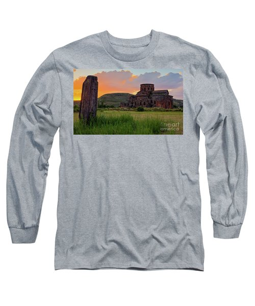 Mediaval Talin's Cathedral At Sunset With Cross Stone In Front, Armenia Long Sleeve T-Shirt by Gurgen Bakhshetsyan