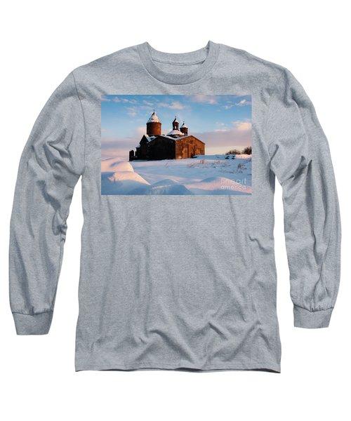 Medieval Saghmosavank Monastery Covered By Snow At Sunset, Armenia Long Sleeve T-Shirt by Gurgen Bakhshetsyan
