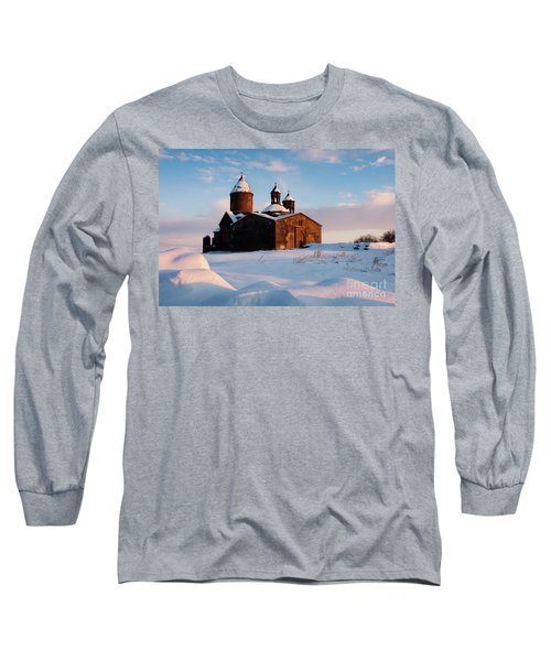 Medieval Saghmosavank Monastery Covered By Snow At Sunset, Armenia Long Sleeve T-Shirt