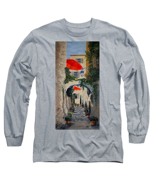 Medieval Steps At St Paul De Vence Long Sleeve T-Shirt by Marilyn Zalatan