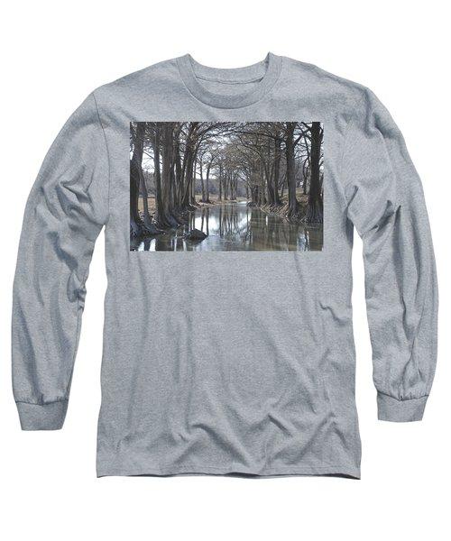 Medina River In Winter Long Sleeve T-Shirt