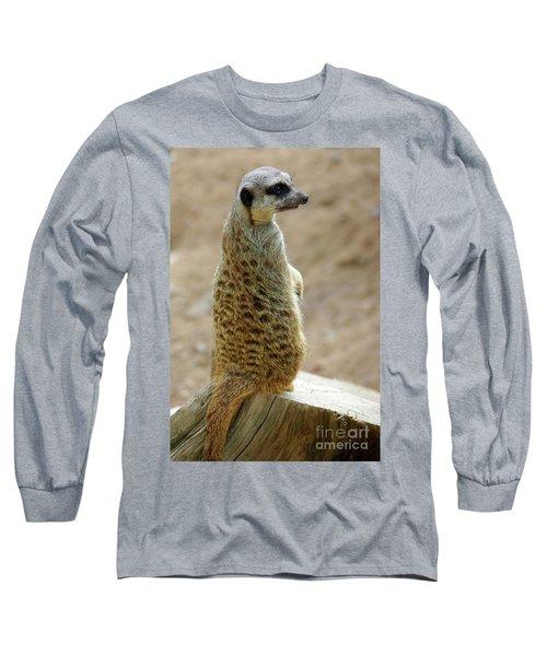 Meerkat Portrait Long Sleeve T-Shirt by Carlos Caetano