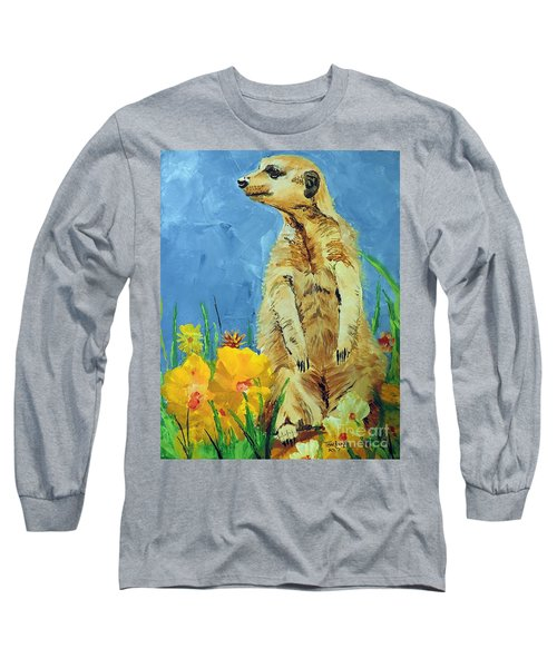 Long Sleeve T-Shirt featuring the painting Meerly Curious by Tom Riggs