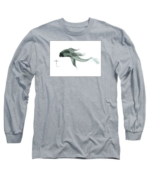 Long Sleeve T-Shirt featuring the drawing Megic Fish 1 by James Lanigan Thompson MFA