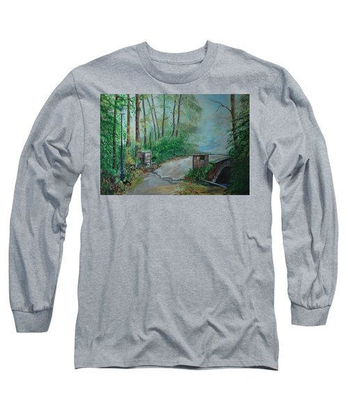Long Sleeve T-Shirt featuring the painting Memory Bridge by Leslie Allen