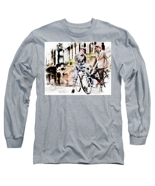 Men On Bikes Long Sleeve T-Shirt by Robert Smith