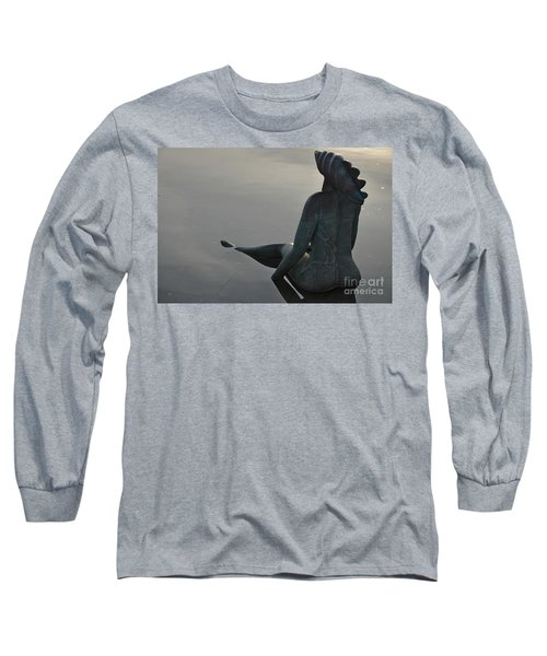Mermaid Bronze Statue In The Faro Marina Long Sleeve T-Shirt by Angelo DeVal