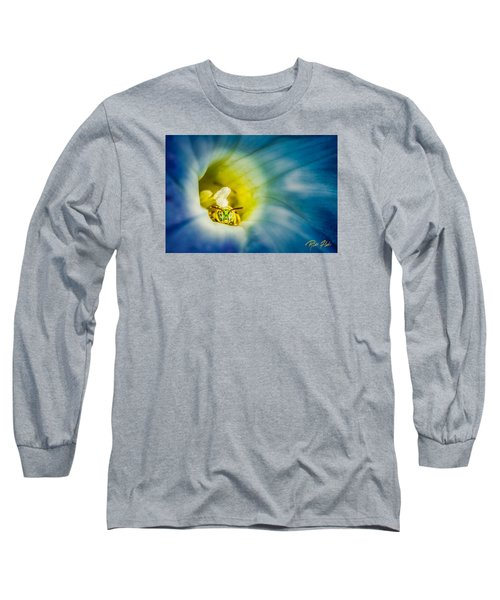 Metallic Green Bee In Blue Morning Glory Long Sleeve T-Shirt