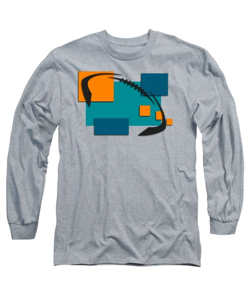 Miami Dolphins Abstract Shirt Long Sleeve T-Shirt by Joe Hamilton